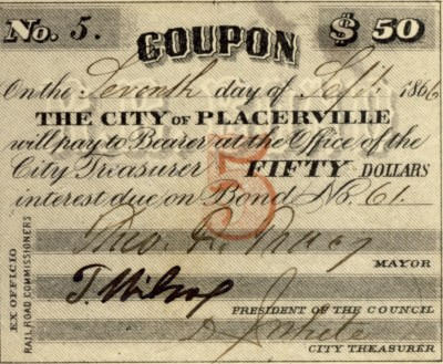 Coupon from Placerville Railroad Stock