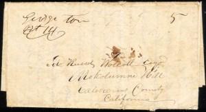 Georgetown 1851, folded letter to Mokelumne Hill.