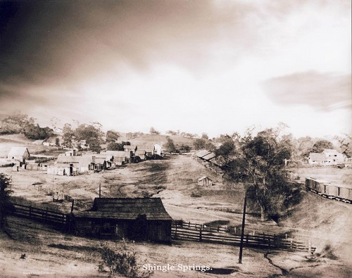Shingle Springs looking west. Courtesy of Steve Crandell, Photo Restoration.