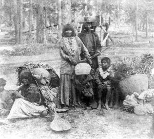 Washoe Chief's Family near Lake Tahoe - 1866