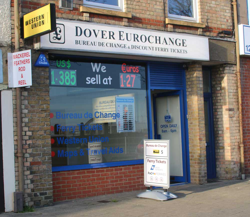 dover eurochange was established in 1992 and has now become the leading bureau de change and discount ferry ticket centre in the area