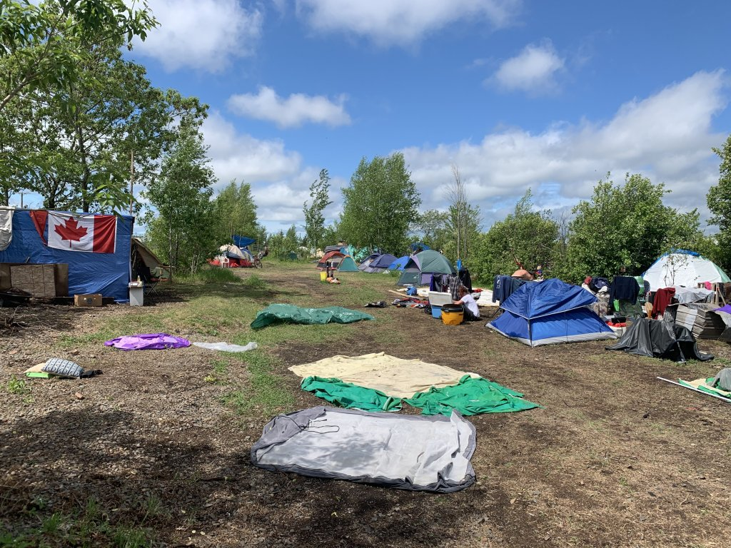 Moncton's tent city, tents setup for homeless.