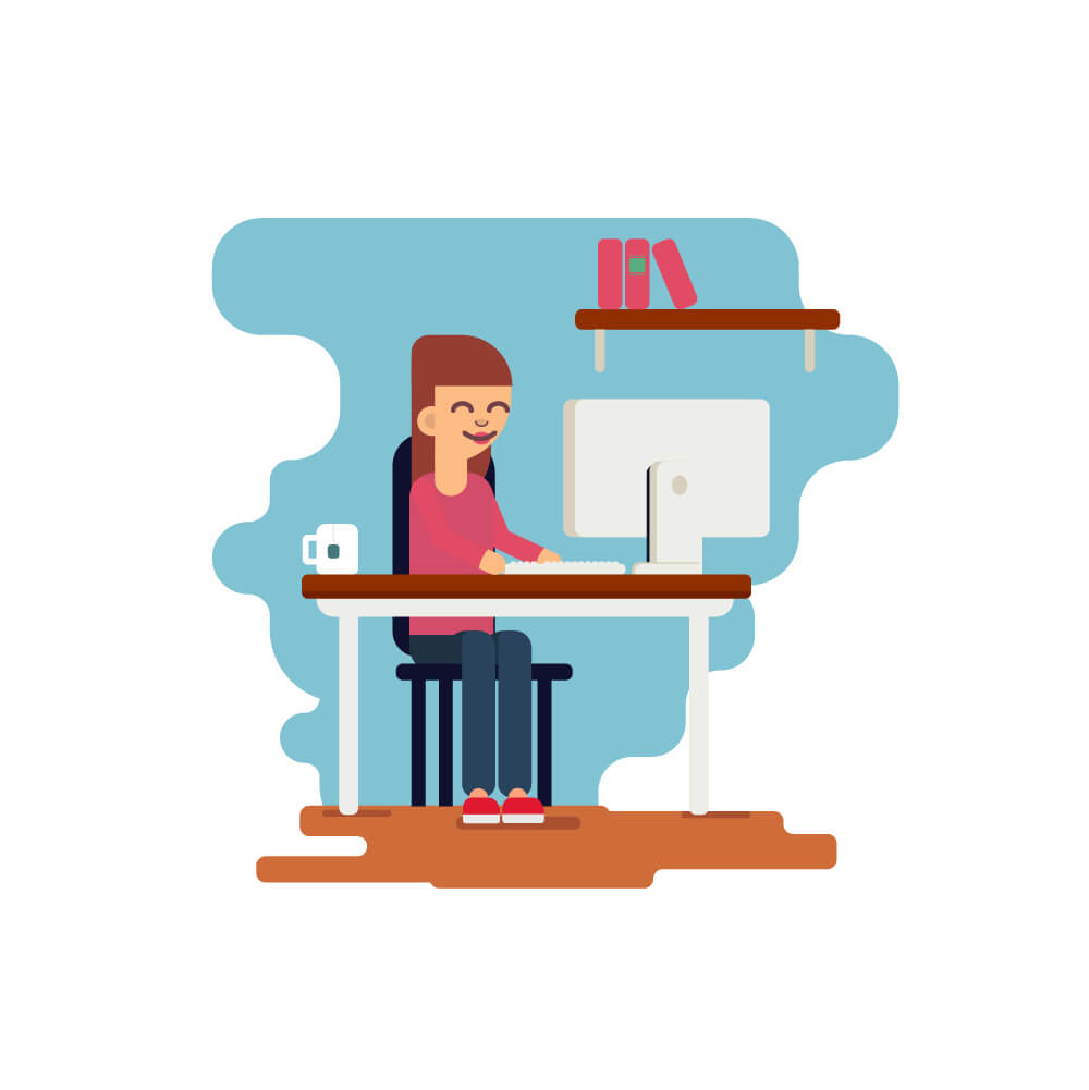 Illustration of a woman working at a desk