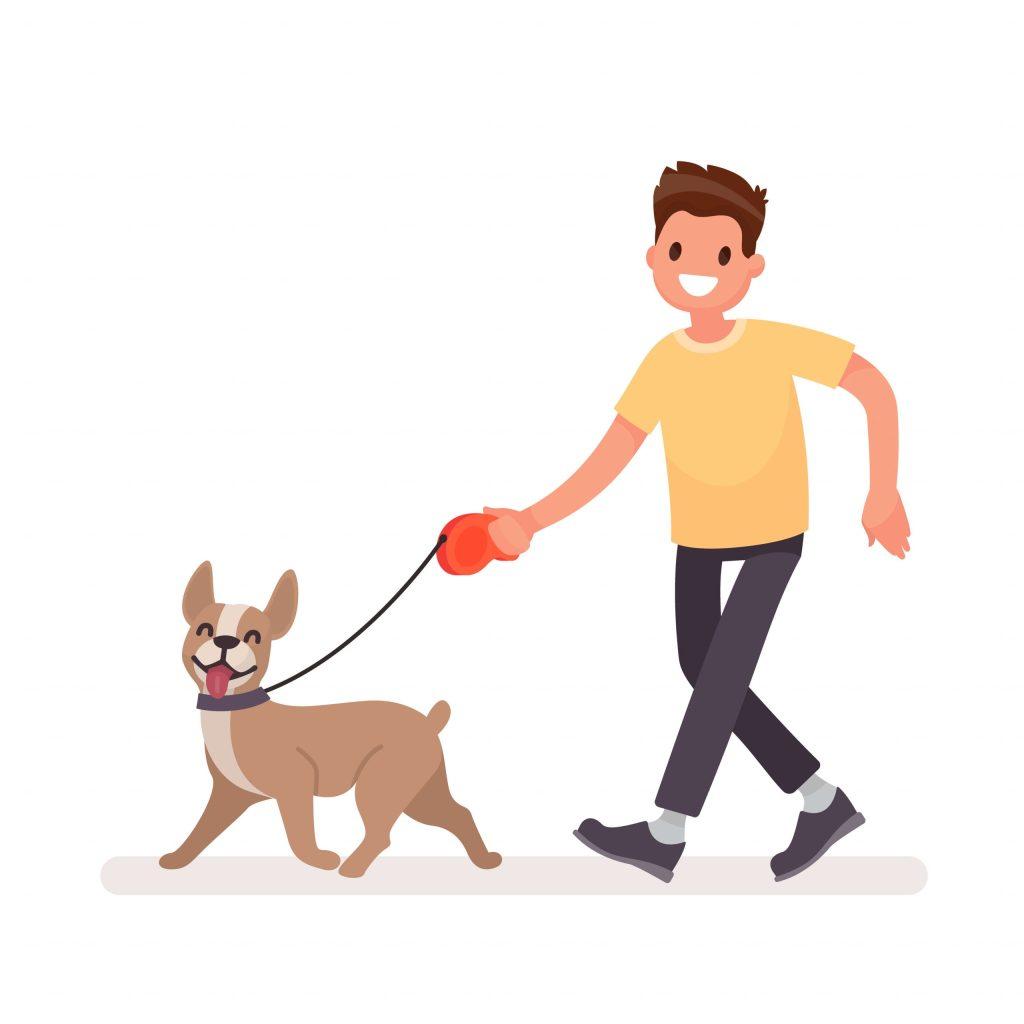 Illustration of a man walking a dog