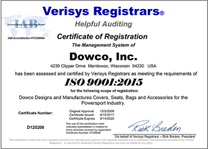 Dowco ISO:9001:2015 Certified