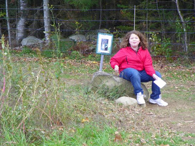 Hannah taking a break on the bunny trail