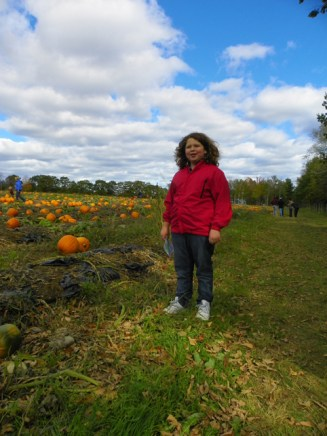 Hannah in the pumpkin patch