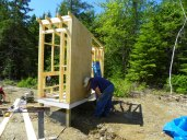 Sheathing the coop with T1-11