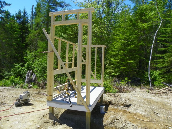 Erecting the front coop wall