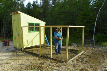 The coop yard framing up