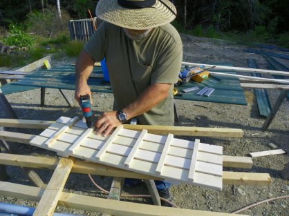 Building the chicken yard ramp out of some left over strapping