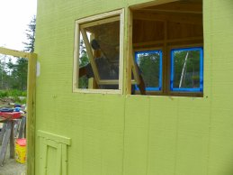 Chicken coop windows going in