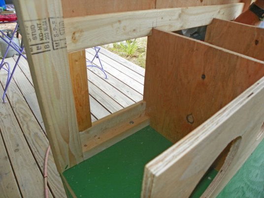 Stops installed for egg collection door
