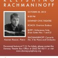 "The Downey Symphony Orchestra's 2012-2013 season opens Saturday October 20th with ""Relishing Rachmaninoff,"" a concert of classical music not to be missed.  Musical Director Sharon Lavery brings us piano sensation Keenan Reesor, , who will perform Rachmaninoff's riveting Piano Concerto No. 3 in F.  Also a premiere performance of Joshua Roach's ""Overture Dodeca.""  For more about the story […]"