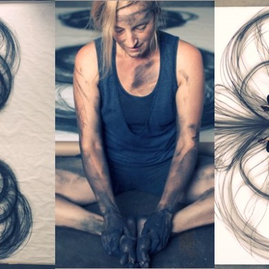 Usage of Body for Creating Charcoal Drawing by Heather Hansen
