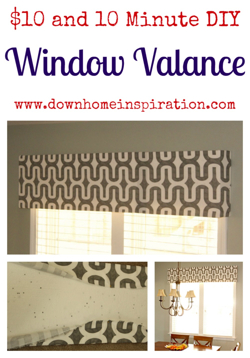 diy window valance simple because this post has become so popular ive since updated it by showing how to hang the valance with no damage and holes be renter friendly 10 10 minute diy window valance down home inspiration