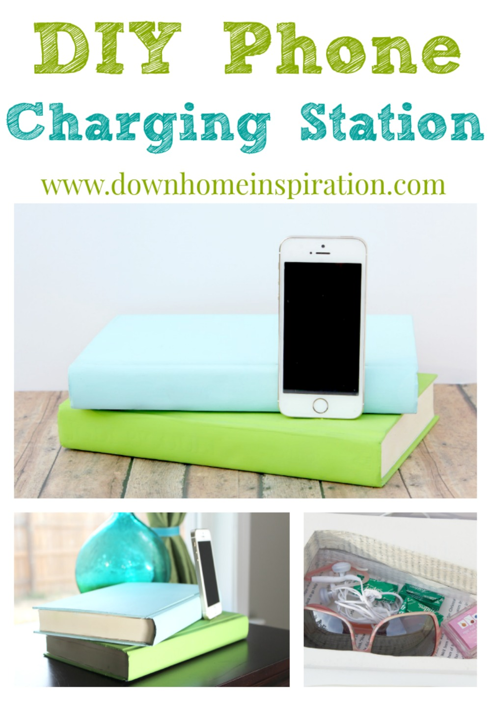 Diy Phone Charging Station Disguised As Books Down Home