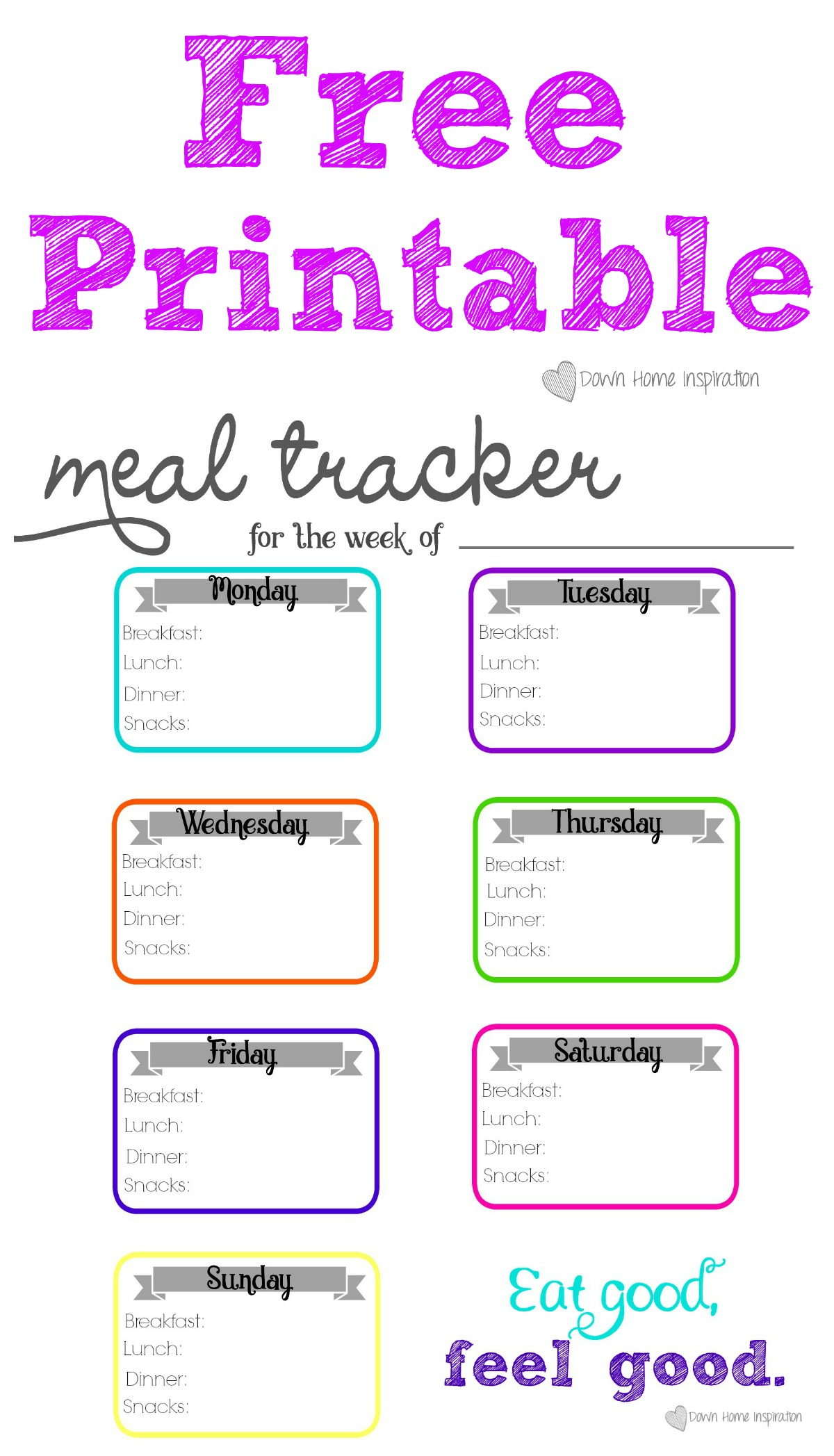 photo relating to Meal Tracker Printable called Totally free Printable Evening meal Tracker - Down Dwelling Commitment