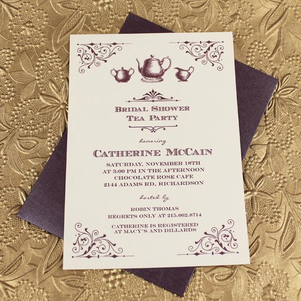 Vine Bridal Shower Tea Party Invitation Template 1