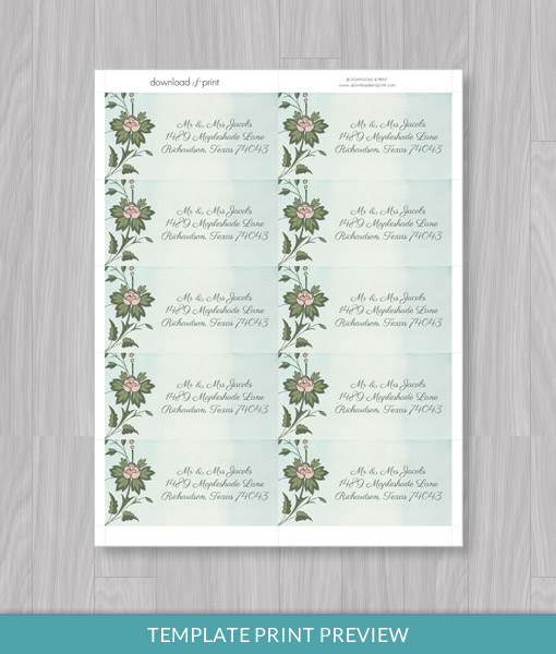 Watercolor Flowers Address Label Template Download Amp Print