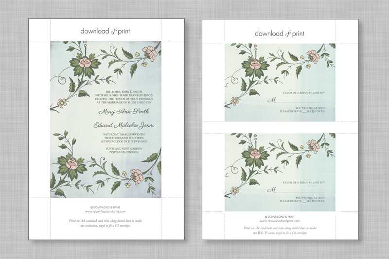 The Invitation Template Yields One Per Page And Rsvp Two Wedding Envelope Word