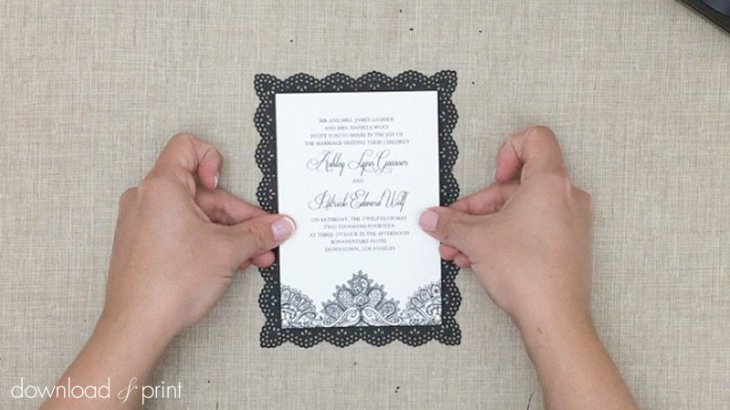 Attach Wedding Invitation To Diy Lace Doily Backing Card Print