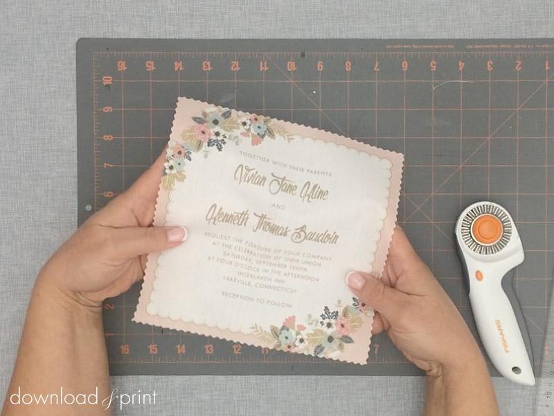 Trim Result Of The Diy Vine Hanky Wedding Invitation Print