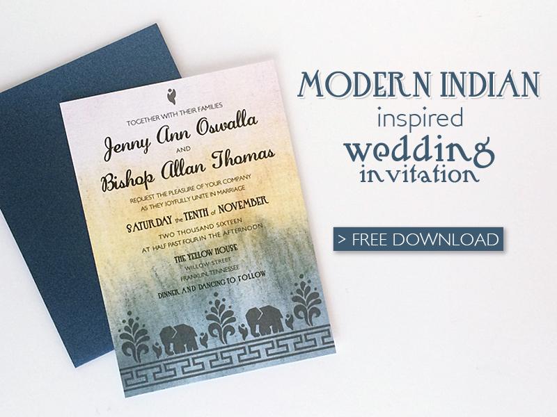Free Modern Indian Wedding Invitation Printable Template Print