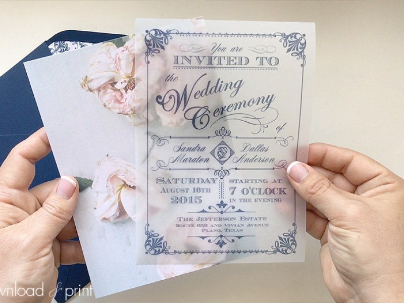 Diy Translucent Wedding Invitation With Vine Rose Background Print