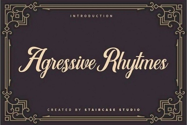 Agressive Rhytmes Calligraphy Font