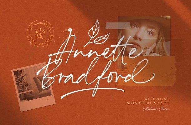 Annette Bradford Ballpoint Signature Font