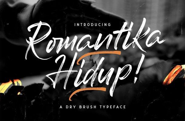 Romantika Hidup Dry Brush Typeface