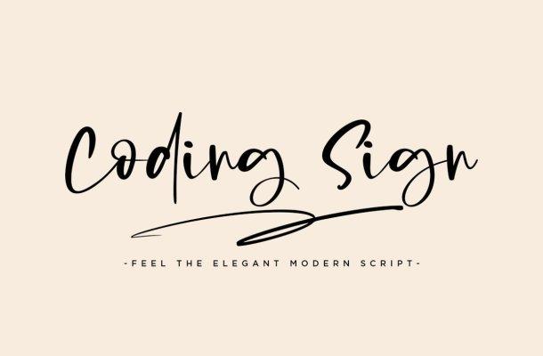 Coding Sign Handwritten Script Font