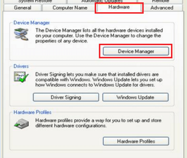 Troubleshooting Steps On Windows Xp Click Start Right Click My Computer Select Properties Click Hardware Tab And Click Device Manager