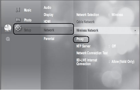 Unable to Connect a Blu ray Disc Player to a Wireless Router using     From the Setup list  choose Network