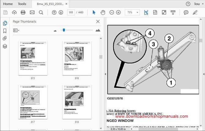 bmw x5 e53 workshop manual 2000 to 2006 pdf