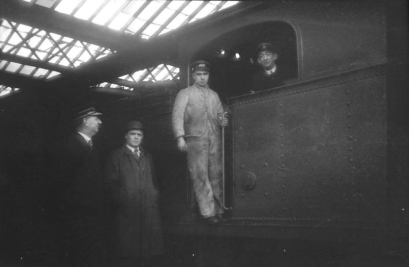 Station Master James Taylor (left), Walter Paton, engine rosterer, fireman James Hill, driver Barney Malone on the last train to depart Downpatrick station to Ardglass in January 1950