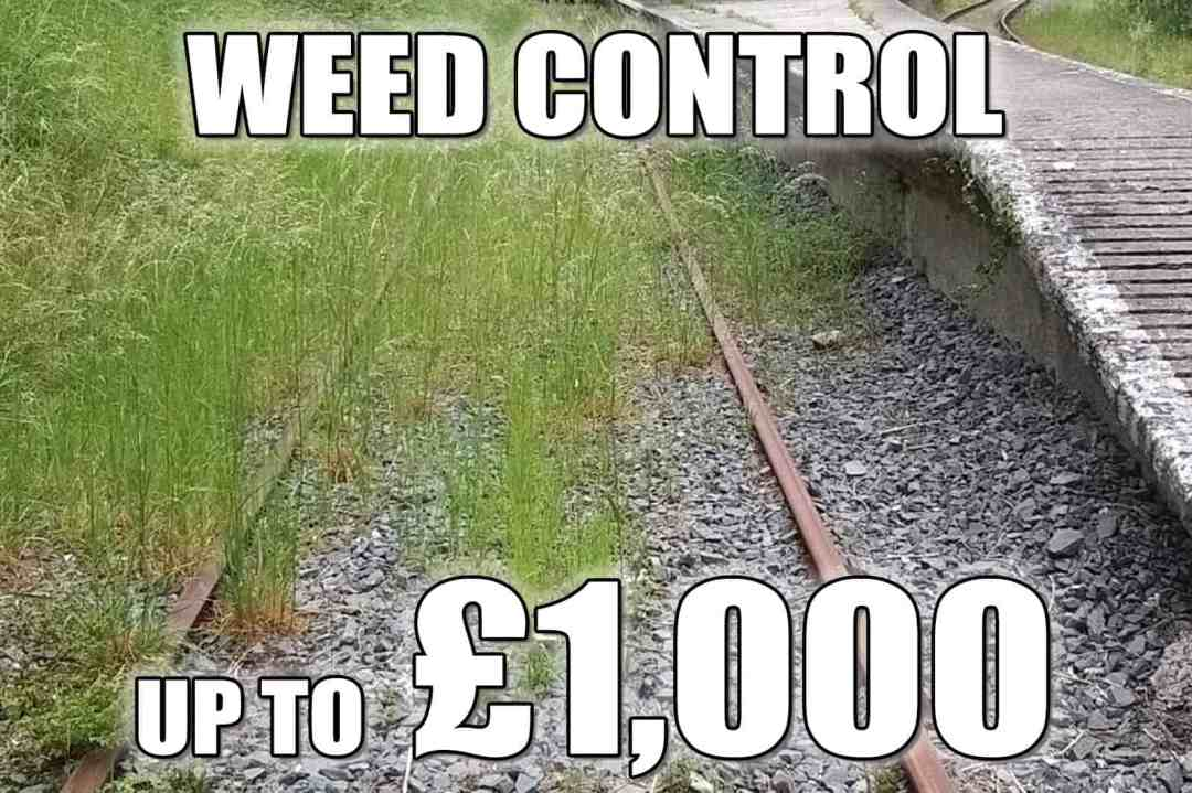 Weed control - up to £1,000 for chemicals and repairs to the sprayers