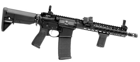 As received the BCM4 SBR came with flip-up sights and a number of KeyMod accessories, some of which are seen here. A VORTEX Viper Red Dot sight was mounted on the BCM4 offset mount along with BCM's QD foregrip.