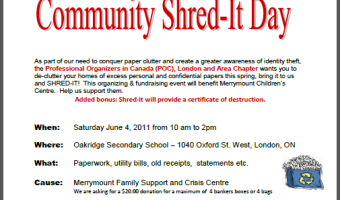 Professional Organizers in Canada: London & Area Chapter Community Shred-It Day