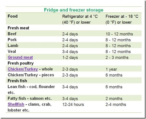 Fridge and Freezer Storage