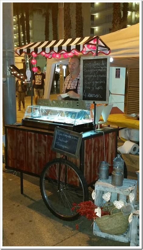 Lloret de Mar, Spain - Food Truck & Caravan Food Festival - Croquettes & Shrimp