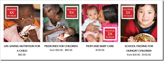 World Vision Gift Catalogue - Multiplier #MeaningfulGifts