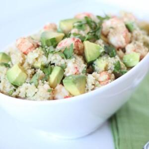 (gluten-free, paleo) Asian Cauli Rice with Ginger Shrimp | www.downshiftology.com