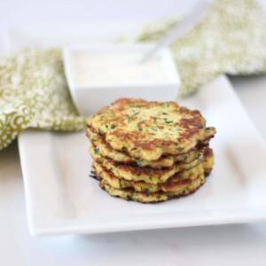 (gluten-free, paleo) Goat Cheese Zucchini Fritters | www.downshiftology.com