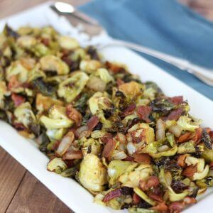 (gluten-free, paleo) Balsamic Bacon Brussel Sprouts | www.downshiftology.com