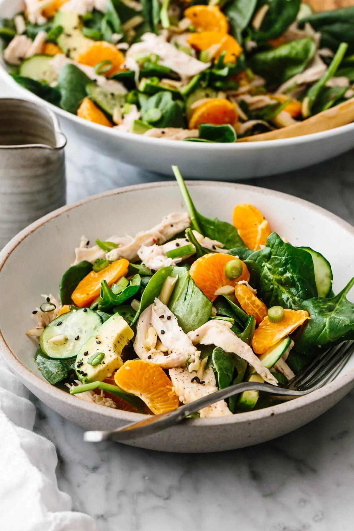 Mandarin chicken salad in a bowl.