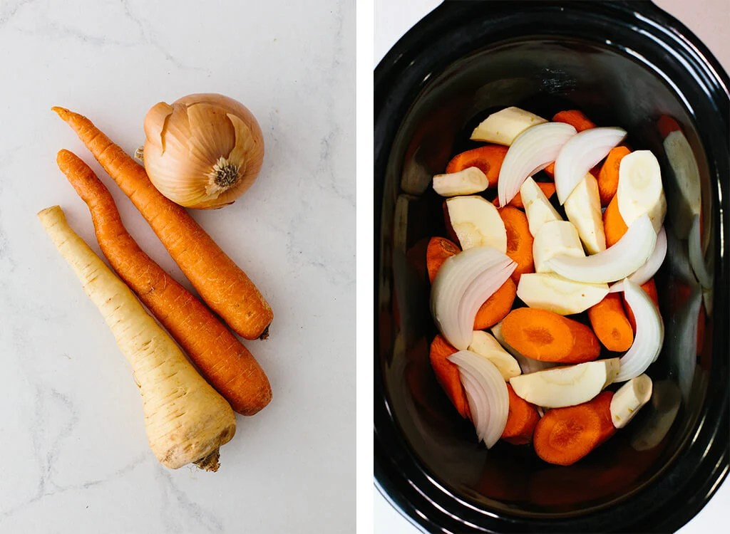 Vegetables diced and in slow cooker (crock pot).