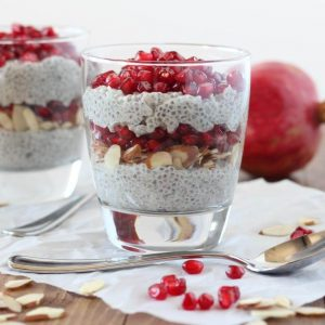 Chia Parfait with Pomegranate and Almonds | www.downshiftology.com