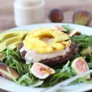 (gluten-free, paleo) Pineapple Burger Bowl with Sweet Fig Mayonnaise | www.downshiftology.com